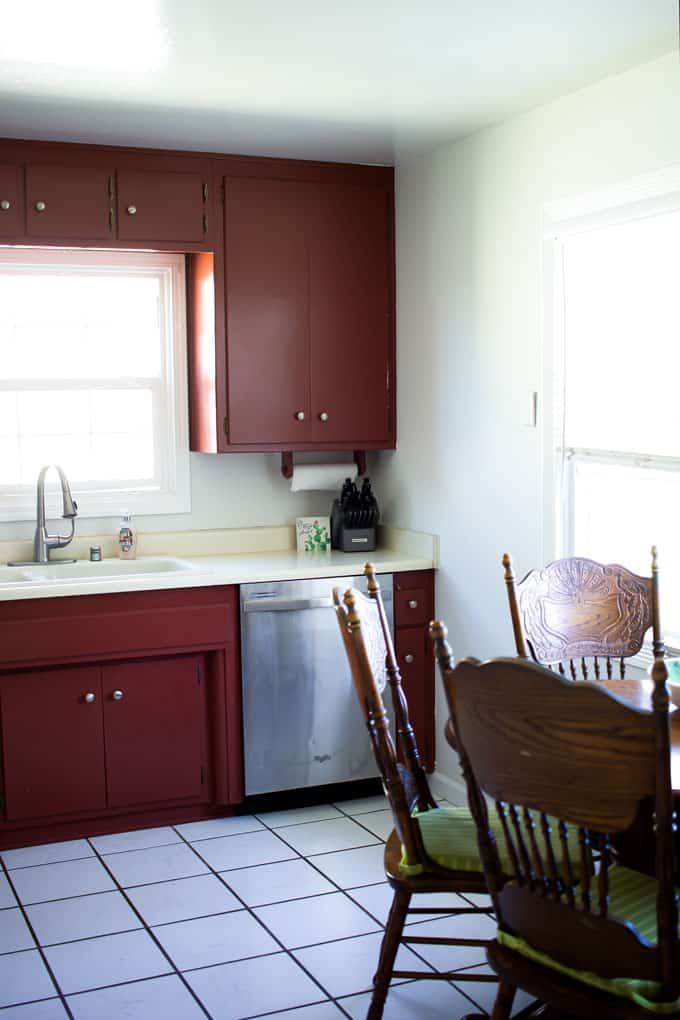 how to update your rental kitchen the easy way kitchen cupboards with sink and dishwasher and gray walls