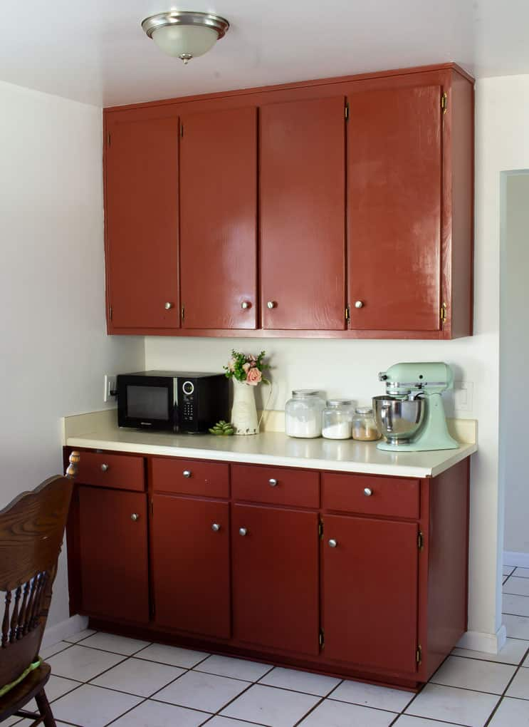 kitchen cabinets and counter against neutral walls