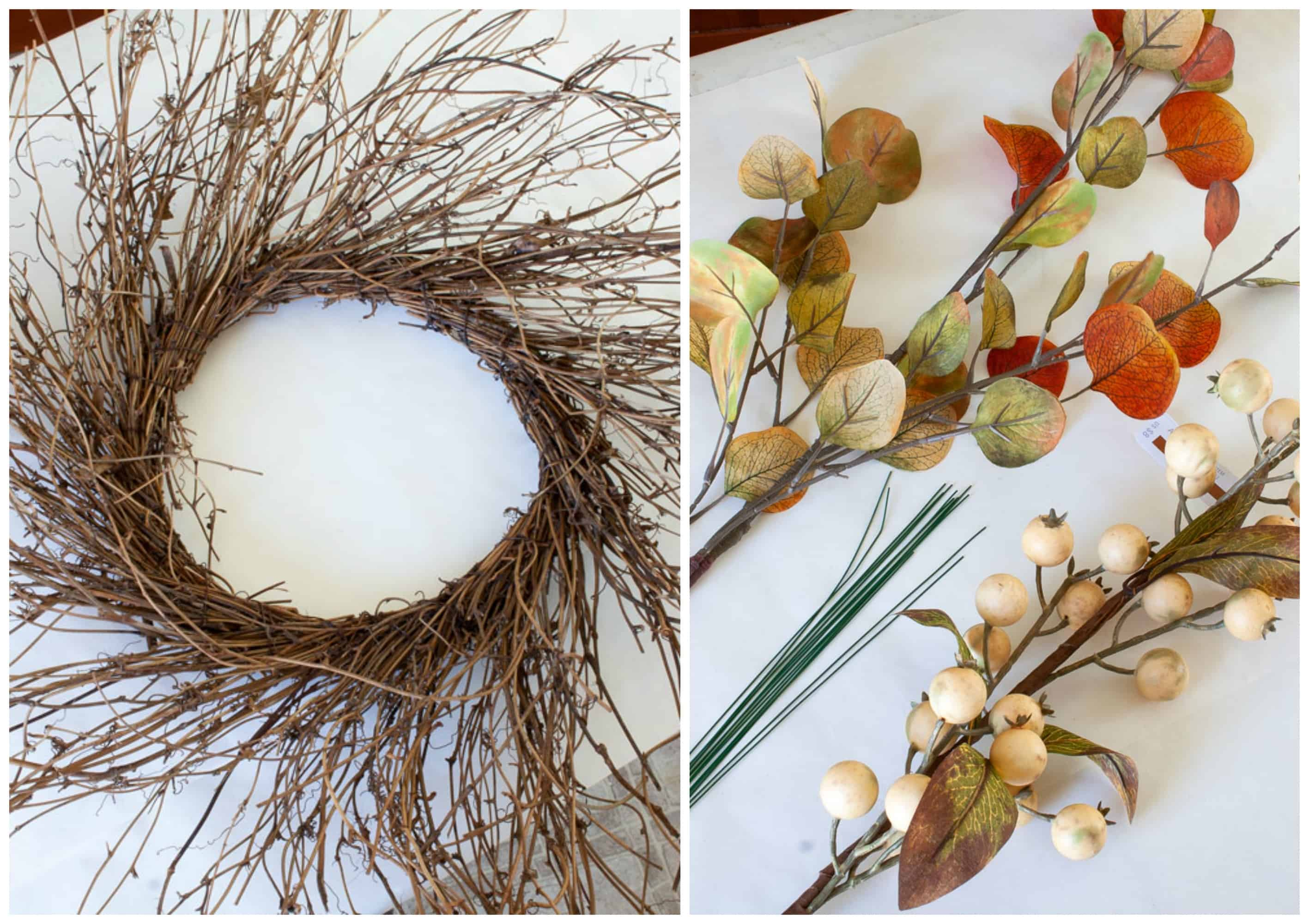 quick easy rustic fall wreath supplies