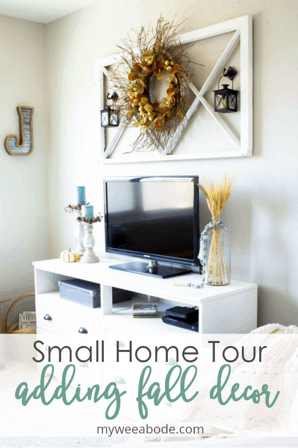 small home fall tour living room with yellow and aqua decor