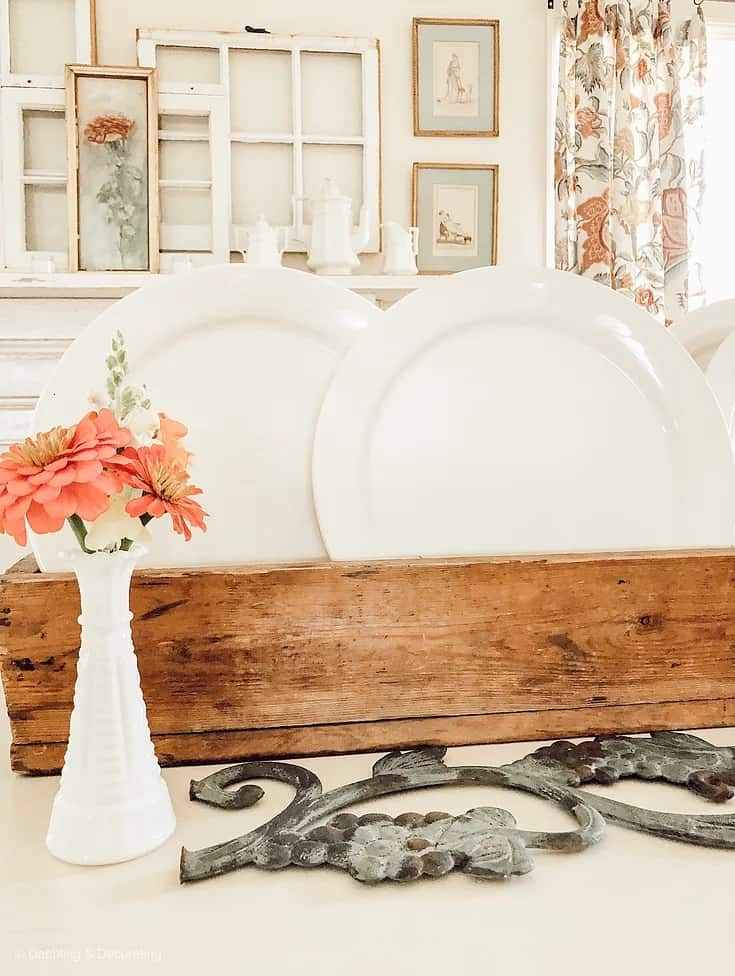 tuesday turn about late summer centerpieces vintage with wood toolbox white plates and orange flowers