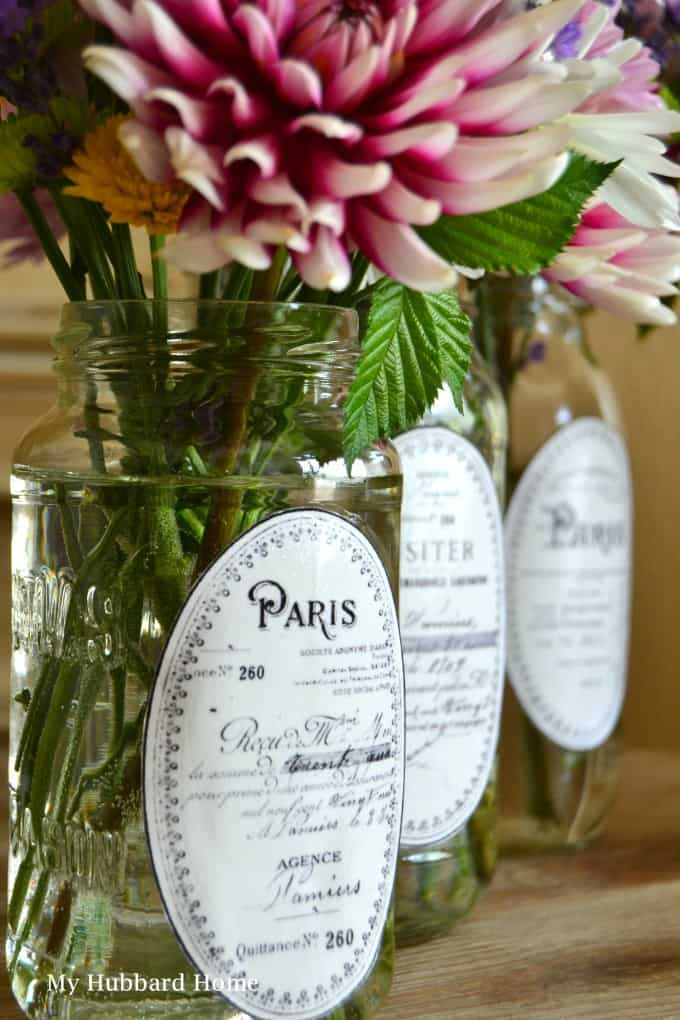 tuesday turn about 16 table decor inspiration mason jars with french labels and flowers