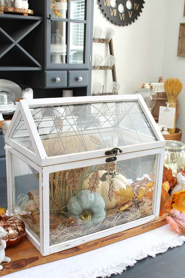 tuesday turn about 16 table decor inspiration terrarium with fall decor on a table