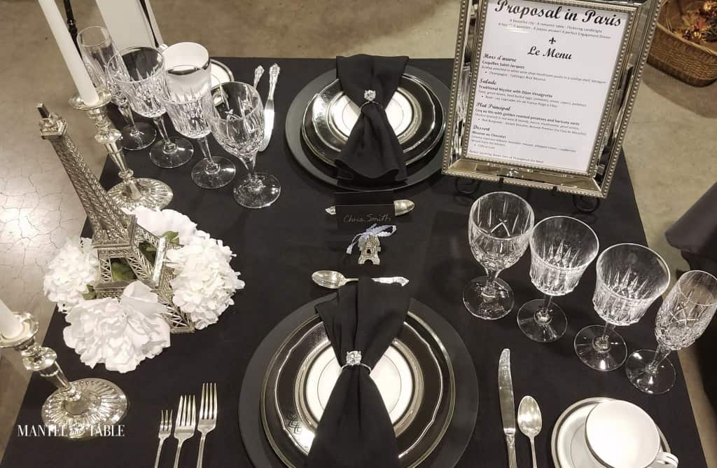 tuesday turn about 16 table decor inspiration tablescape in black white and blue with dishes and stemware