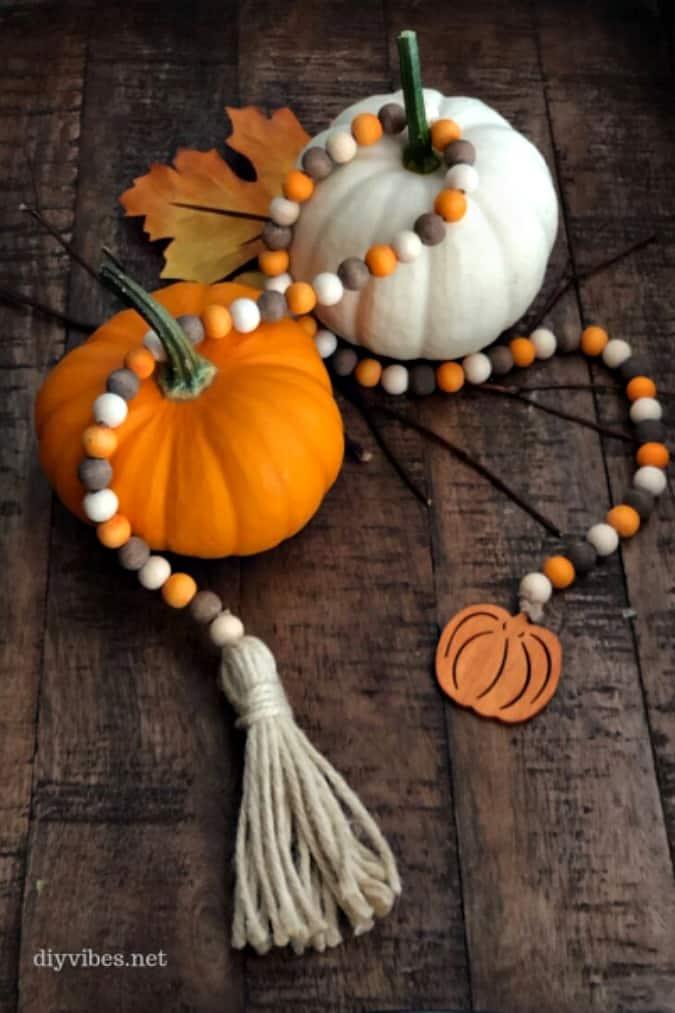 tuesday turn about 18 pumpkin fun fall wooden bead garland with pumpkin tassel