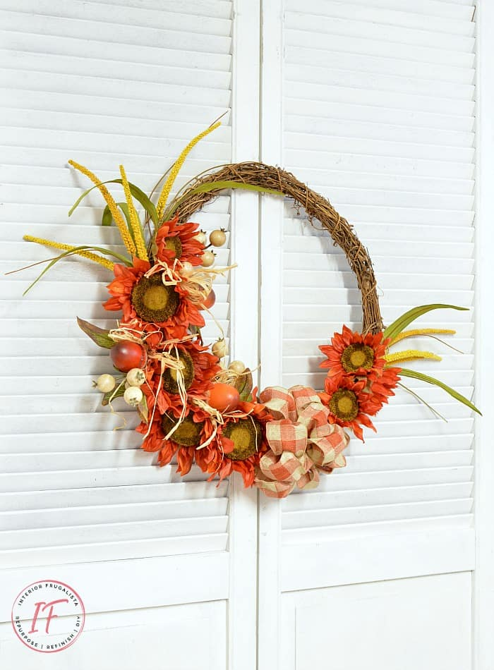 tuesday turn about 19 fall wall decor orange sunflower grapevine wreath on shutter door