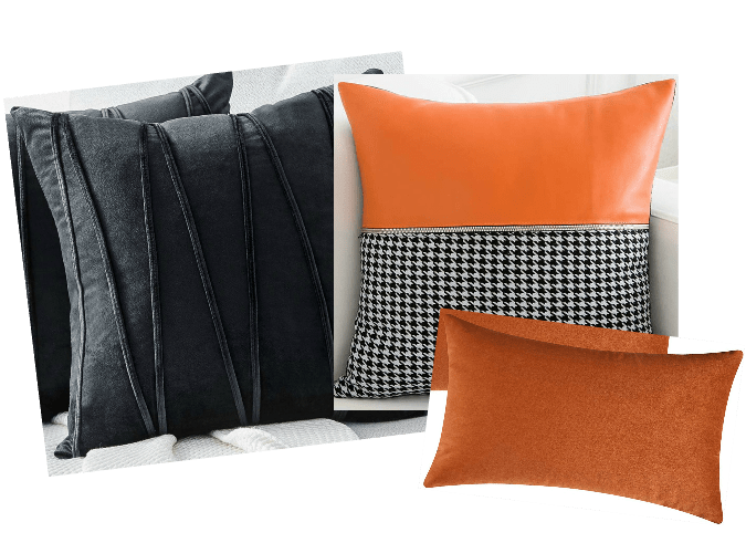 10-minute fall decorating with coordinated pillow sets in orange and black