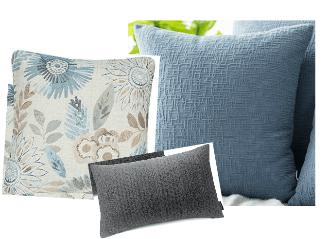 10-minute fall decorating with coordinated pillow sets in blue and gray