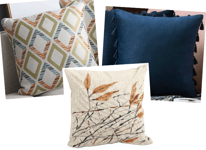 coordinated pillow sets in blue and rust