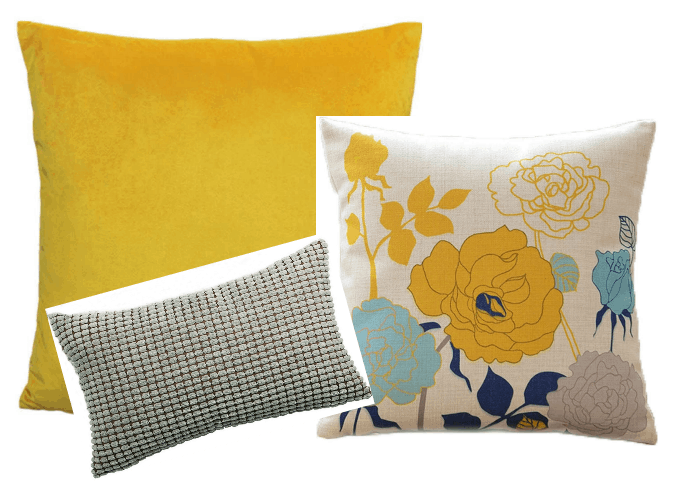 coordinated pillow sets in yellow and gray
