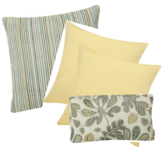 10-minute fall decorating with coordinated pillow sets in green and yellow