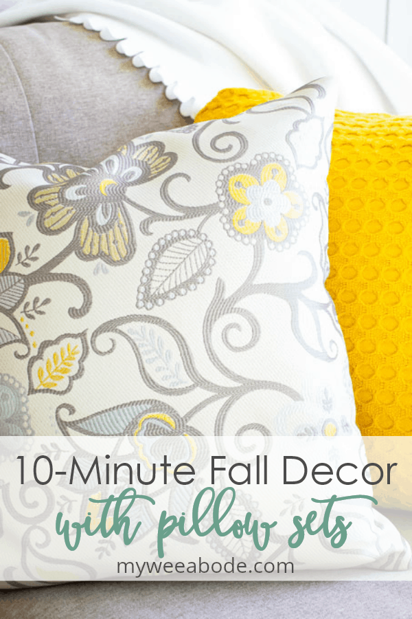 10-minute fall decorating with coordinated pillow sets in yellow and aqua