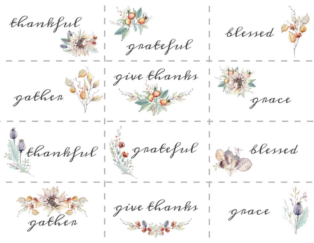 name place cards for fall with preprinted sentiments