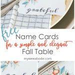 name place cards for fall on napkin dishes and silverware