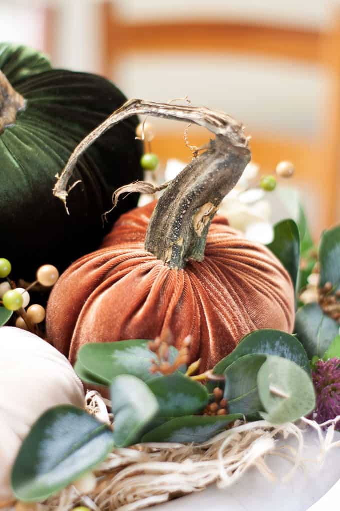 thanksgiving centerpiece with velvet pumpkins with real stems and faux foliage