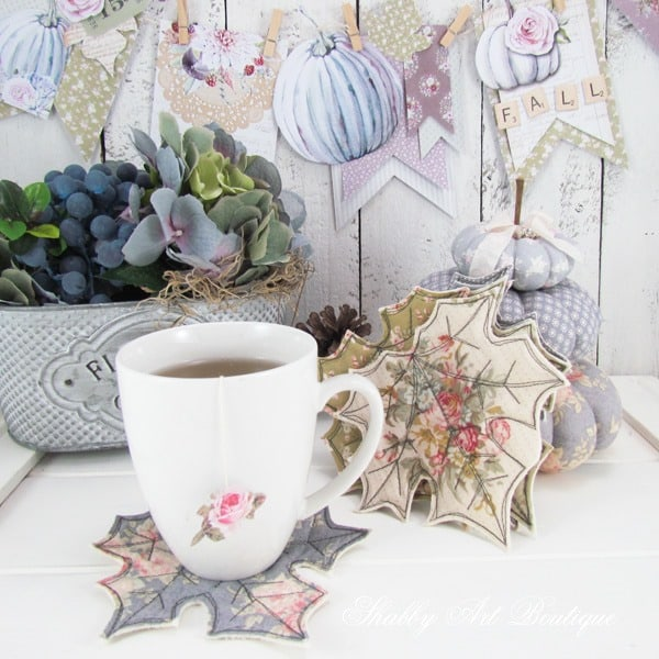 tuesday turn about 20 quick fall projects leaf coasters with coffee mug