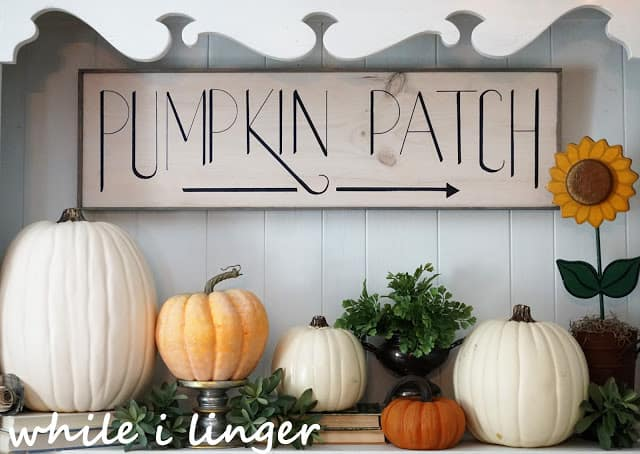 pumpkin patch sign with pumpkins and greenery on shelf