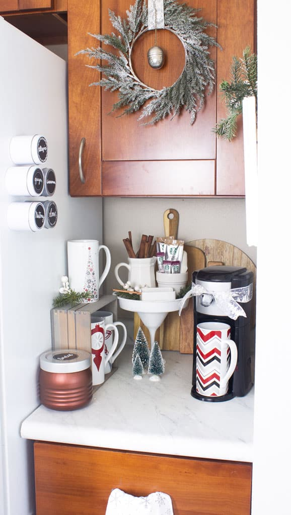 creating a holiday coffee station in a small space hot cocoa bar with all the fixings