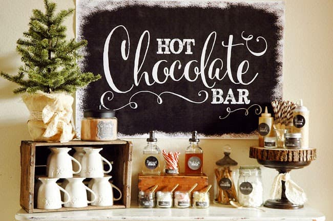 creating a holiday coffee bar in a small space hot cocoa bar with all the fixings