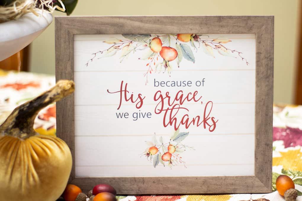 thanksgiving watercolor printable art on table with velvet pumpkin