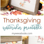 thanksgiving watercolor printable art on table with velvet pumpkins and faux florals