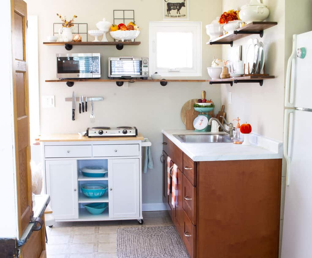 creating a holiday coffee bar in a small space kitchen with fall decor