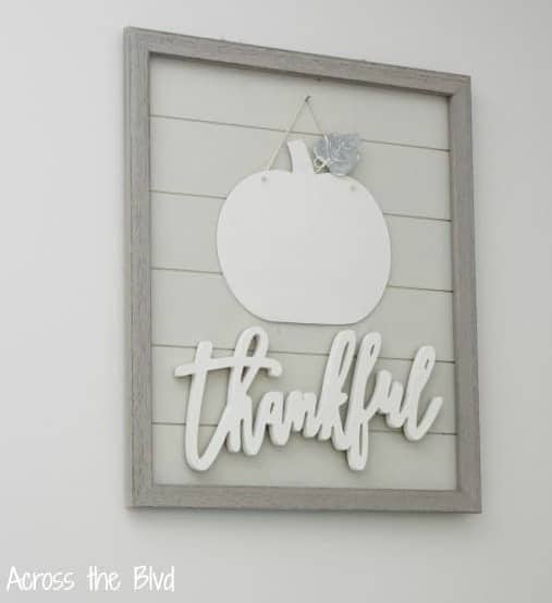tuesday turn about thankful sign with pumpkin