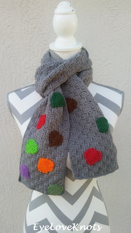 gray scarf with colorful leaves