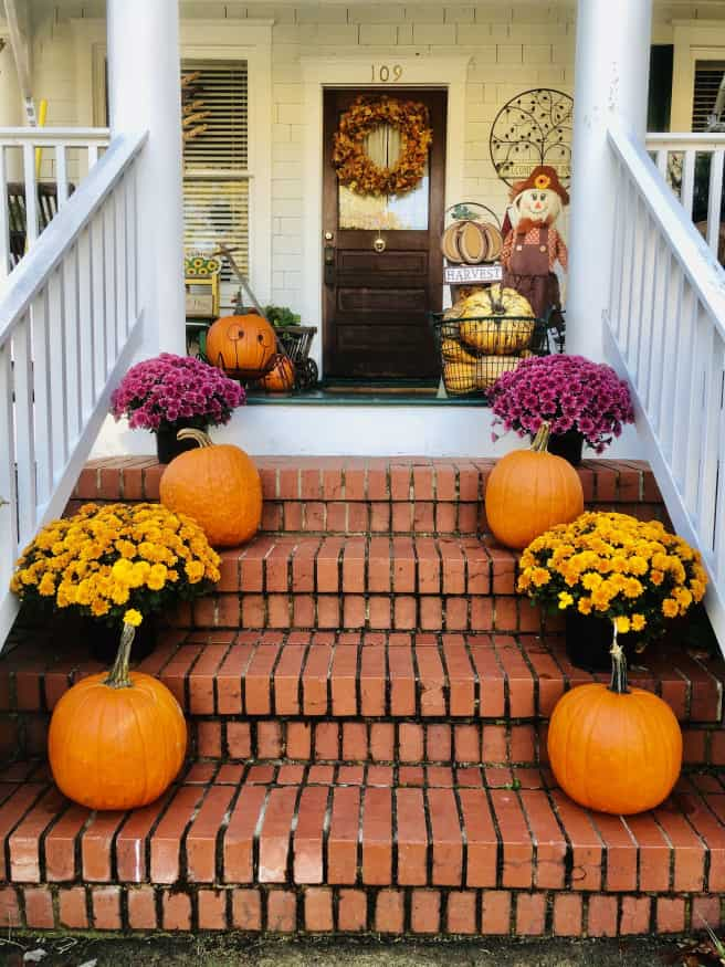 tuesday turn about porch with fall decor
