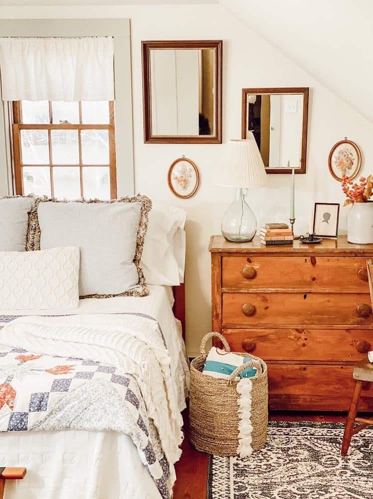 guest bedroom with antiques and farmhouse decor