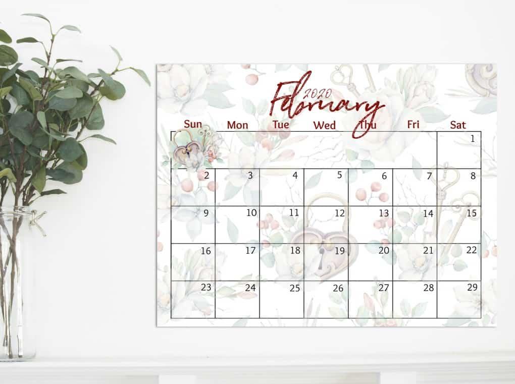 free 2020 printable watercolor calendar February
