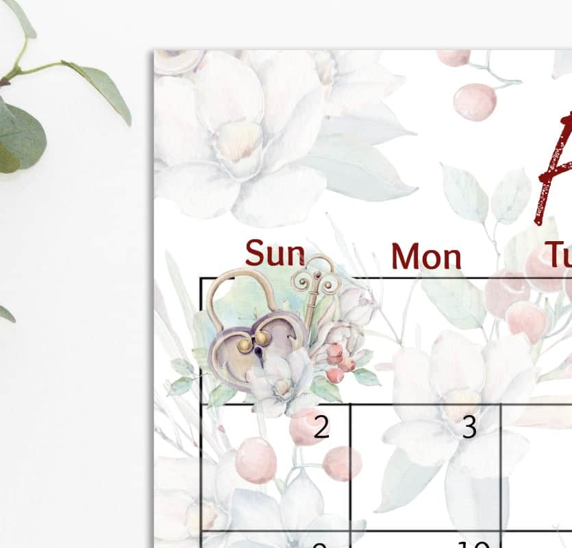 free 2020 printable watercolor calendar heart locket with florals
