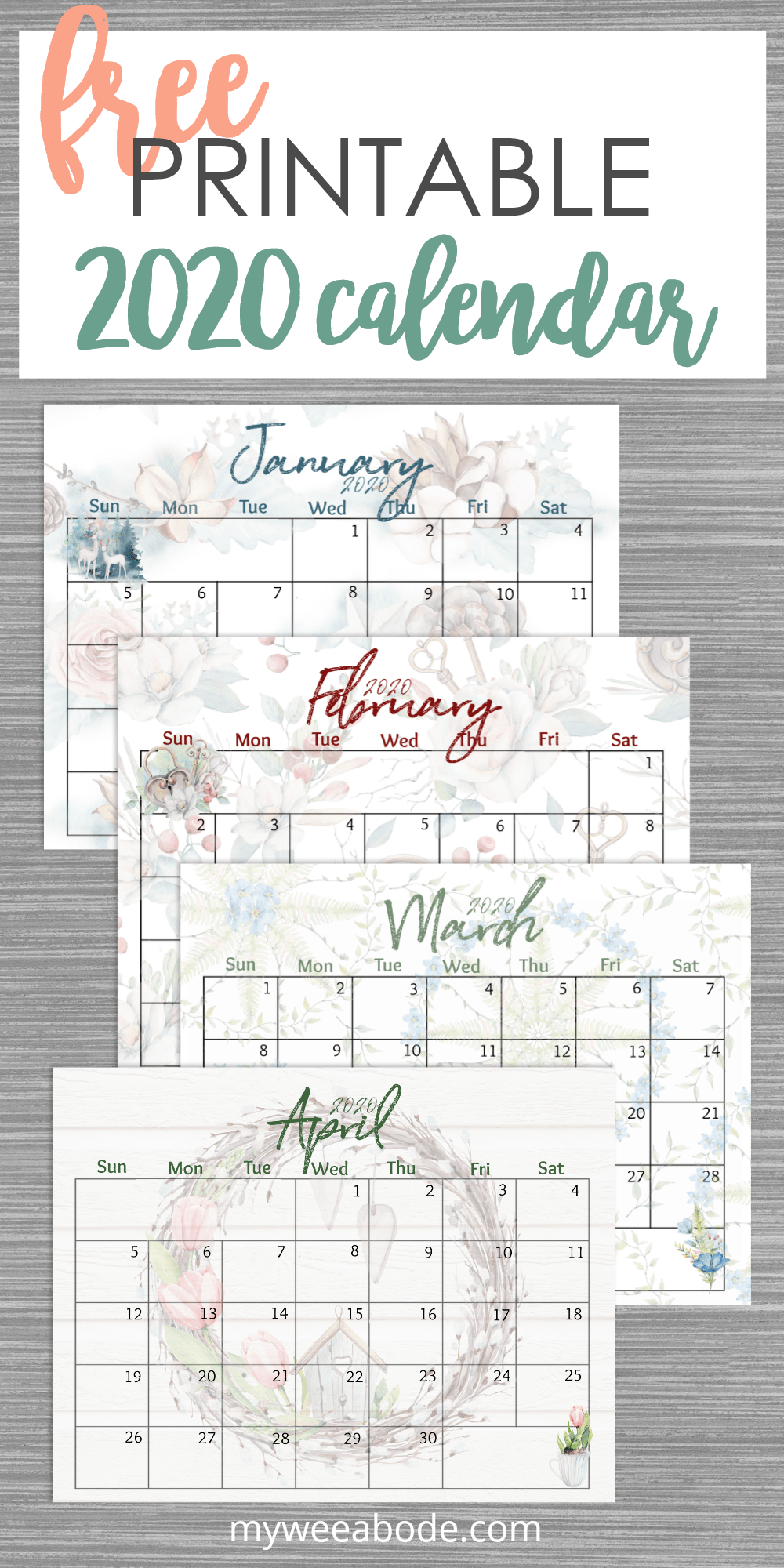 free 2020 printable watercolor calendar with 4 months