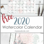 free 2020 printable watercolor calendar with august featured