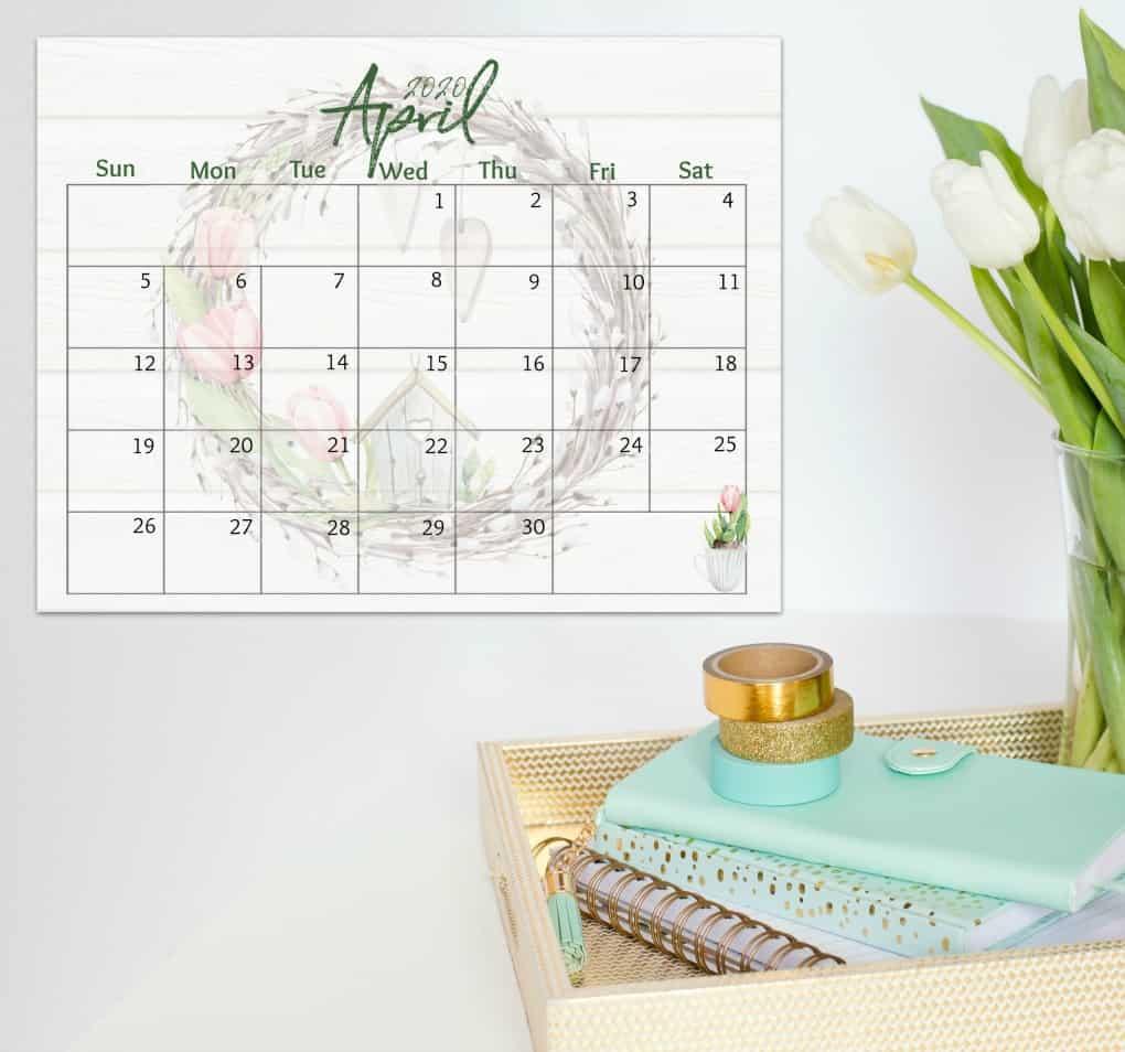 free 2020 printable watercolor calendar April