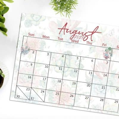 Free 2020 Printable Watercolor Calendar