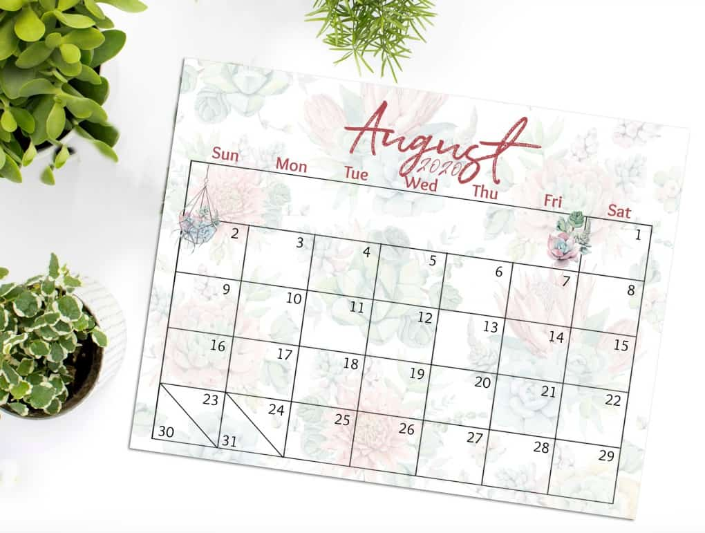 free 2020 printable watercolor calendar August