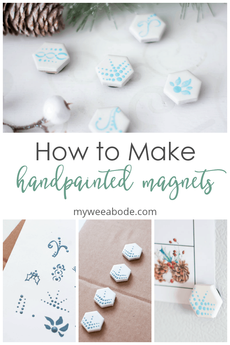 easy diy hand painted magnets on white surface with Christmas decor