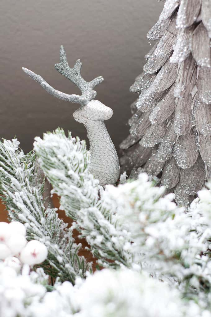 christmas mantel flocked garland with sparkly tree and little deer