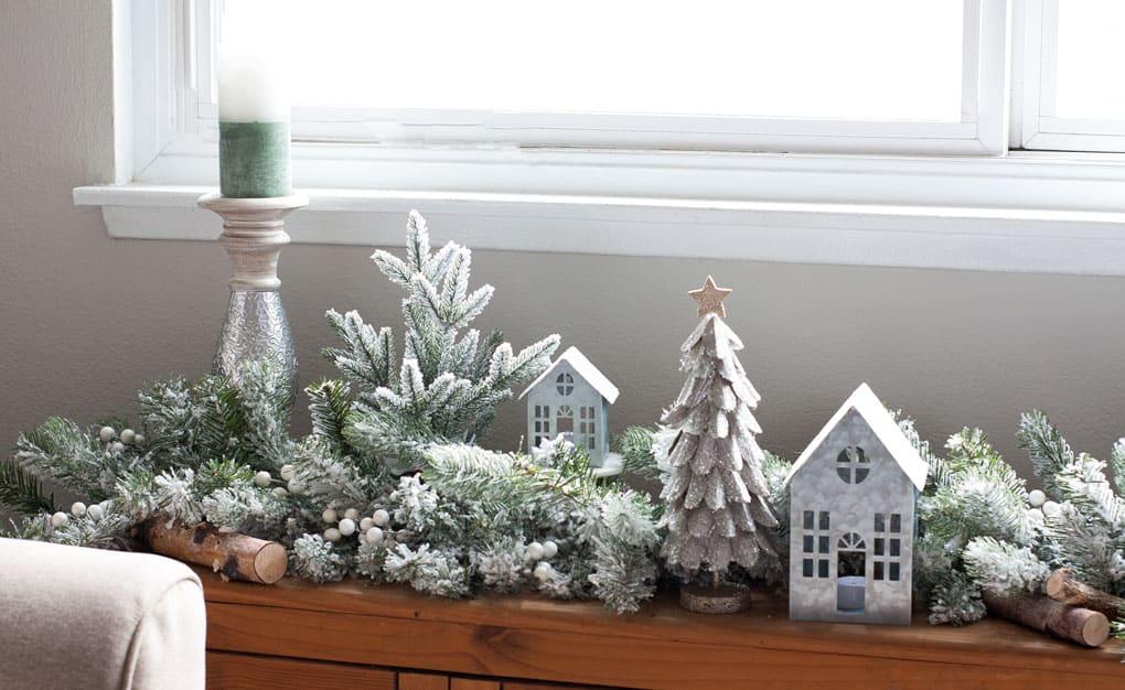 christmas mantel flocked garland window bench with flocked garland and Christmas decor elements in living room