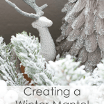 flocked garland with deer and glitter tree