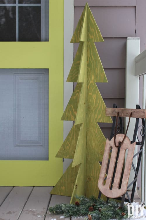 tuesday turn about christmas inspiration 3d wooden christmas tree on porch with sled