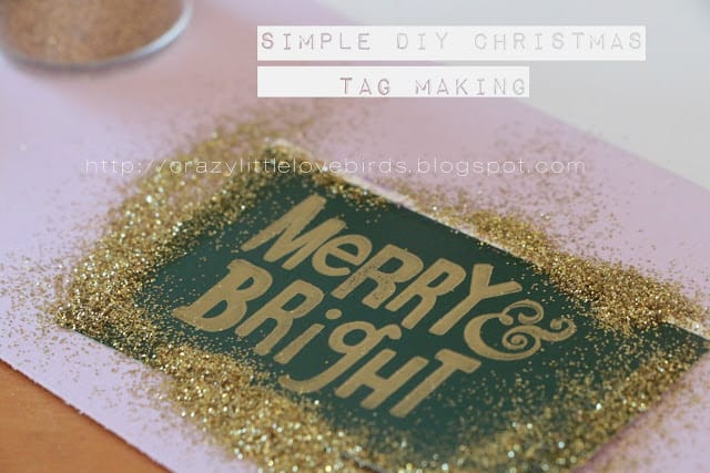 tuesday turn about 29 christmas galore green and glittered christmas tag that says merry and bright