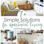 photos of a small apartment with banner 7 simple solutions for apartment living