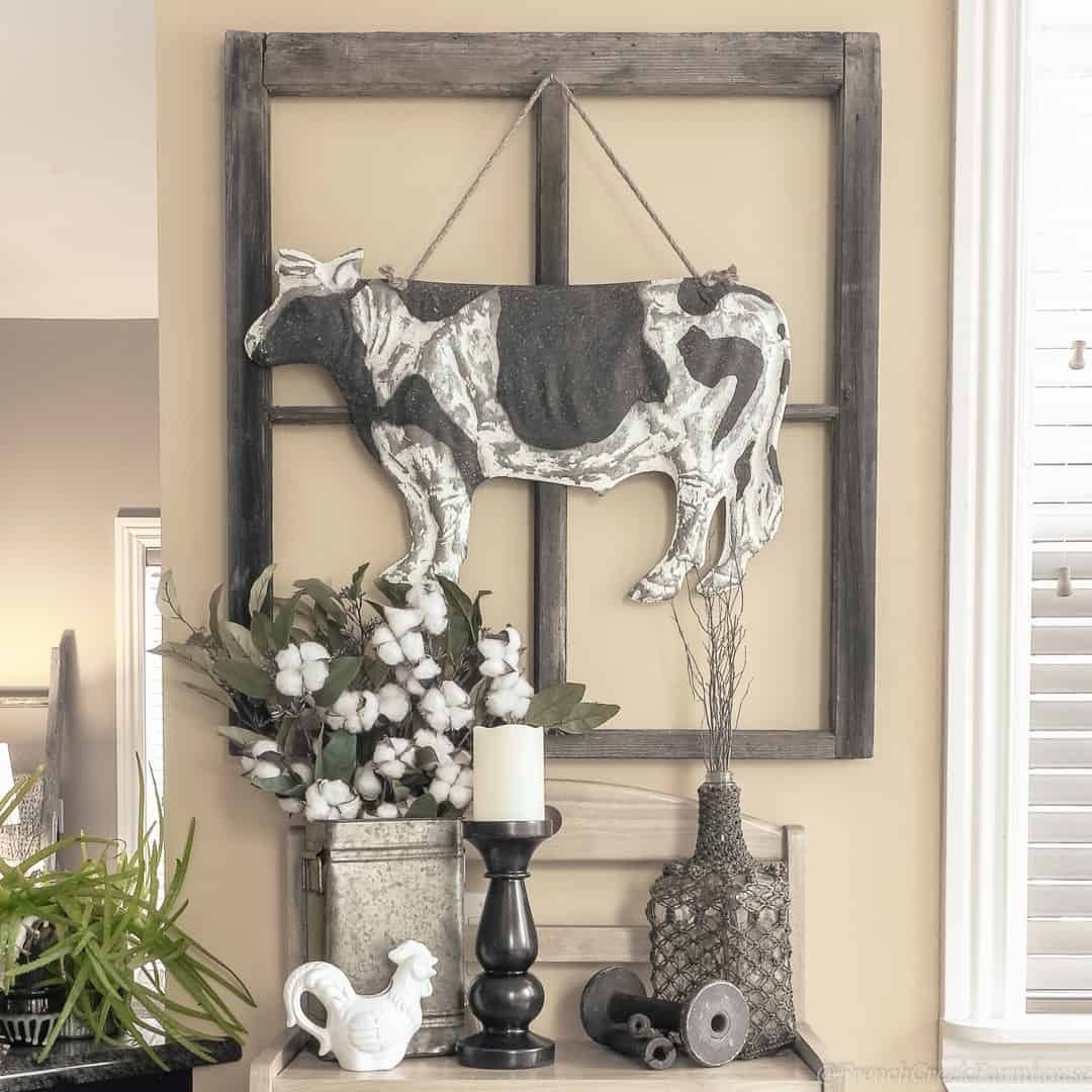 tuesday turn about 31 farmhouse wall hanging and decor on console table