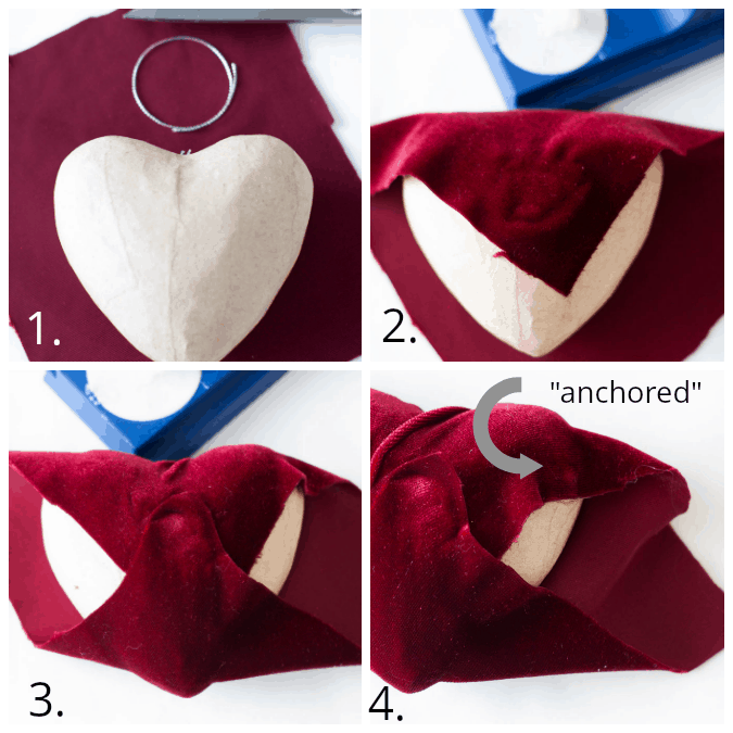 steps for making velvet covered hearts
