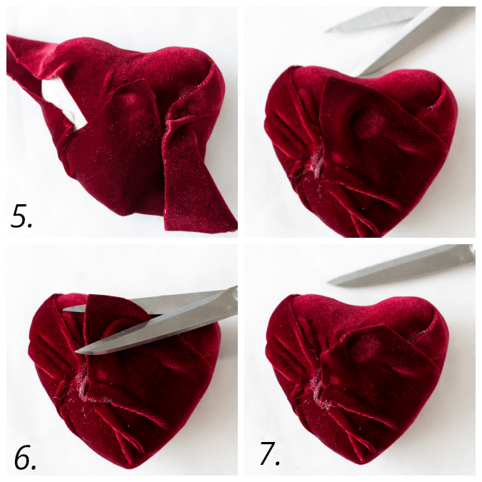 how to make a valentine garland with velvet covered hearts directions