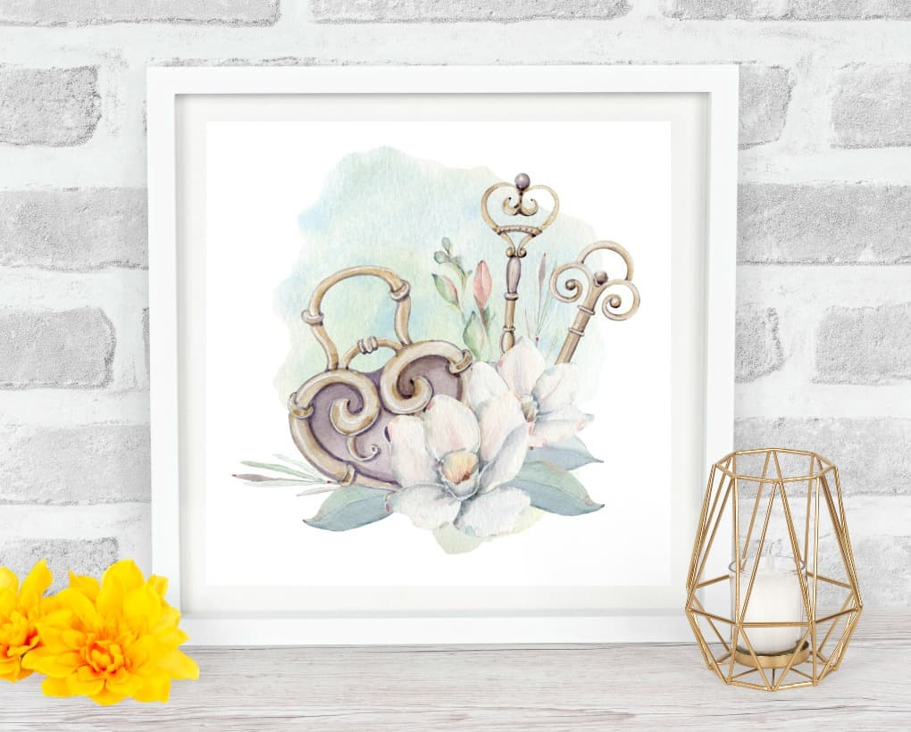 free valentine watercolor wall art with hearts flowers and keys on wood surface