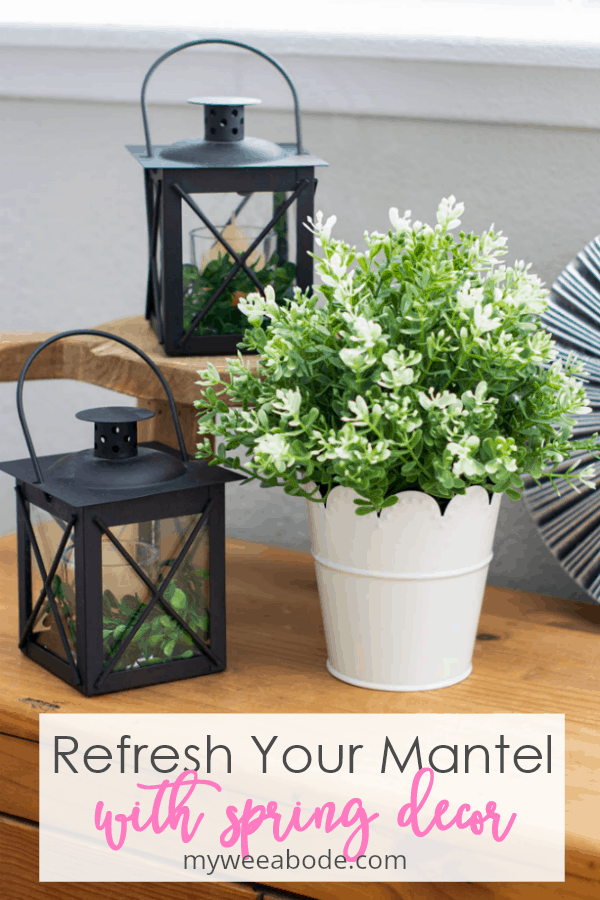 refresh your mantel with spring decor black lanterns with white pot and boxwood on wood surface