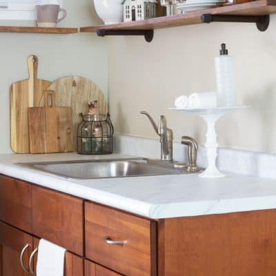 Love Your Dark Kitchen Cabinets with Winter Neutrals
